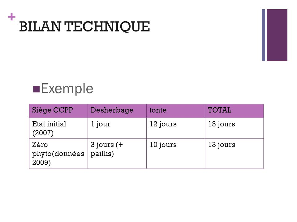 BILAN TECHNIQUE Exemple Siège CCPP Desherbage tonte TOTAL