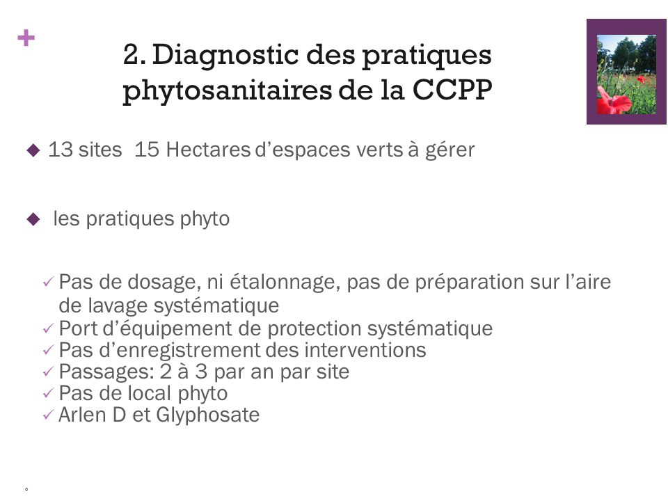 2. Diagnostic des pratiques phytosanitaires de la CCPP