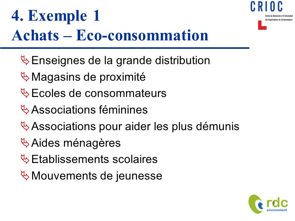 4. Exemple 1 Achats – Eco-consommation