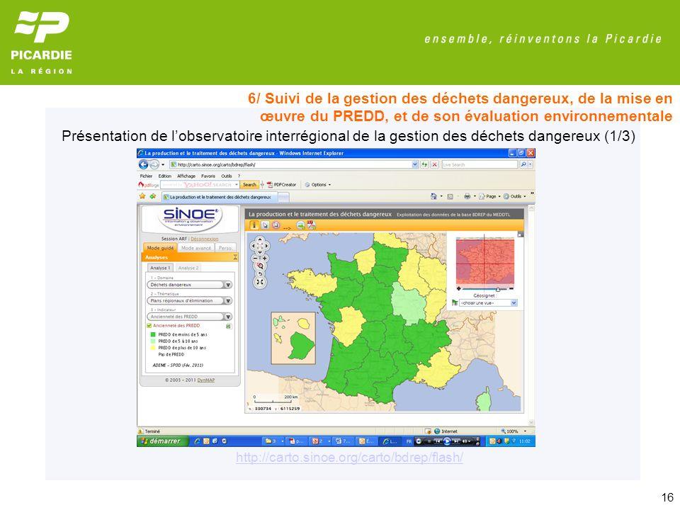 6/ Suivi de la gestion des déchets dangereux, de la mise en œuvre du PREDD, et de son évaluation environnementale