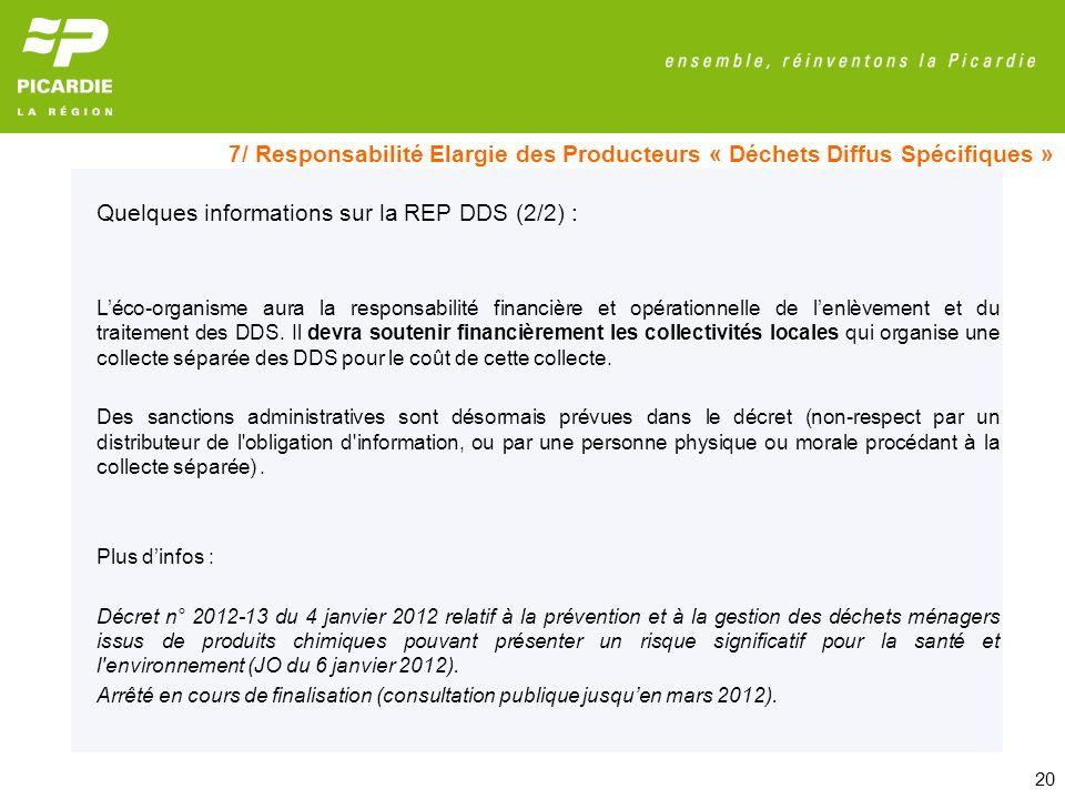 Quelques informations sur la REP DDS (2/2) :