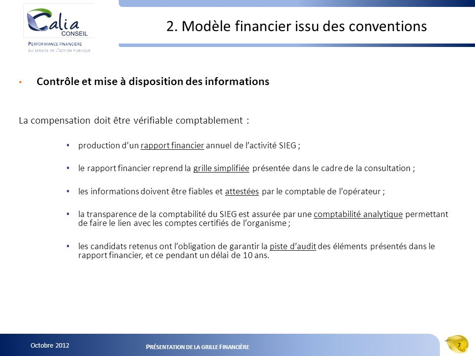 2. Modèle financier issu des conventions