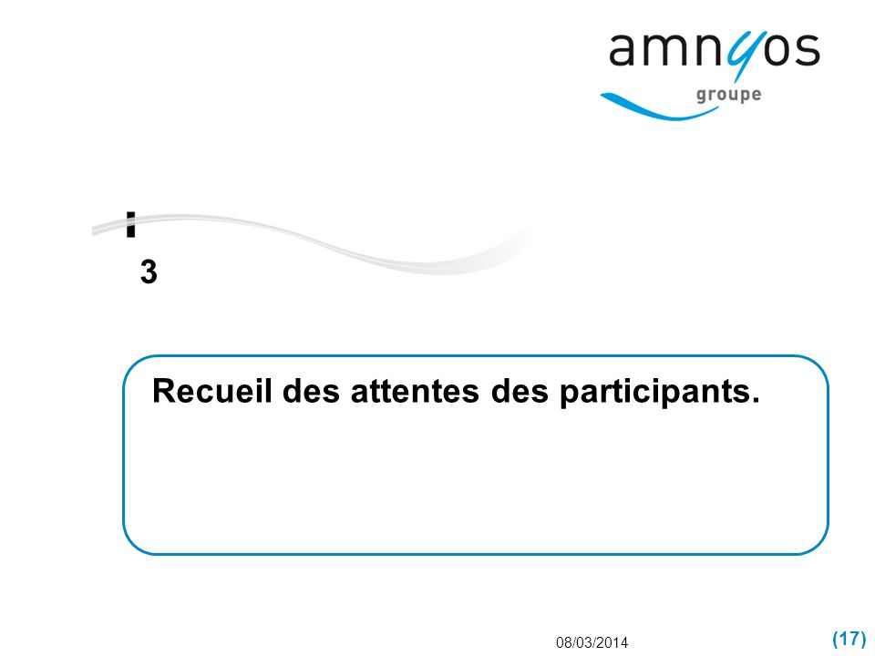 Recueil des attentes des participants.