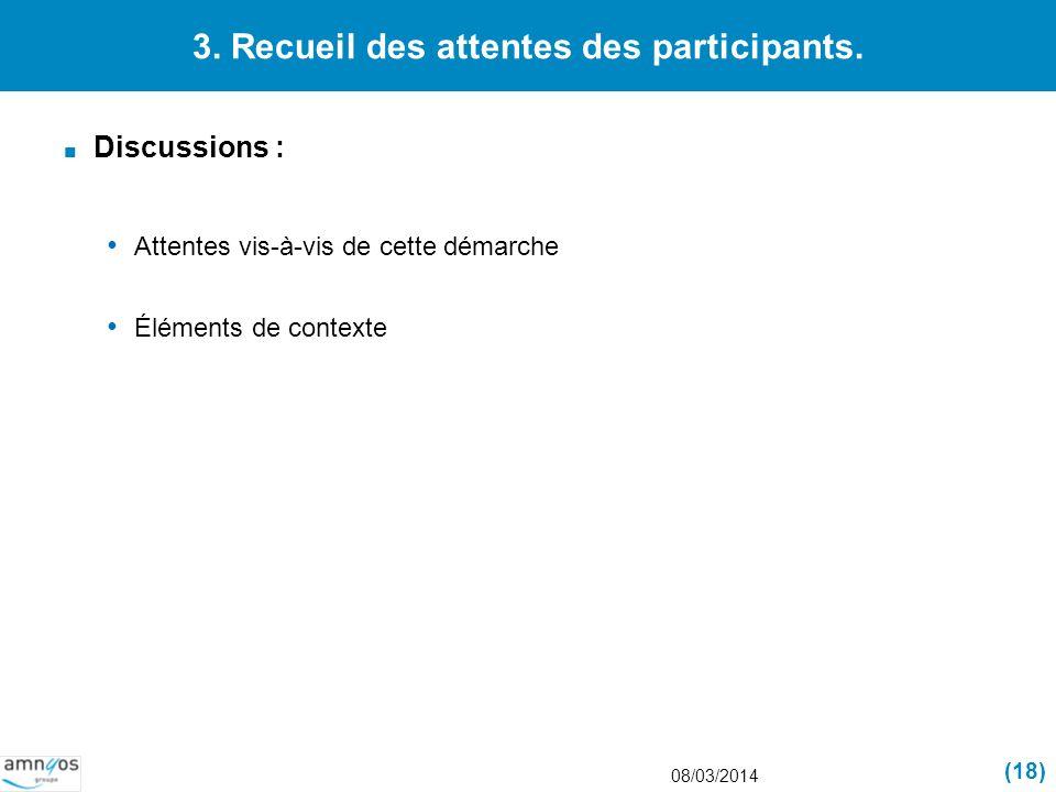 3. Recueil des attentes des participants.