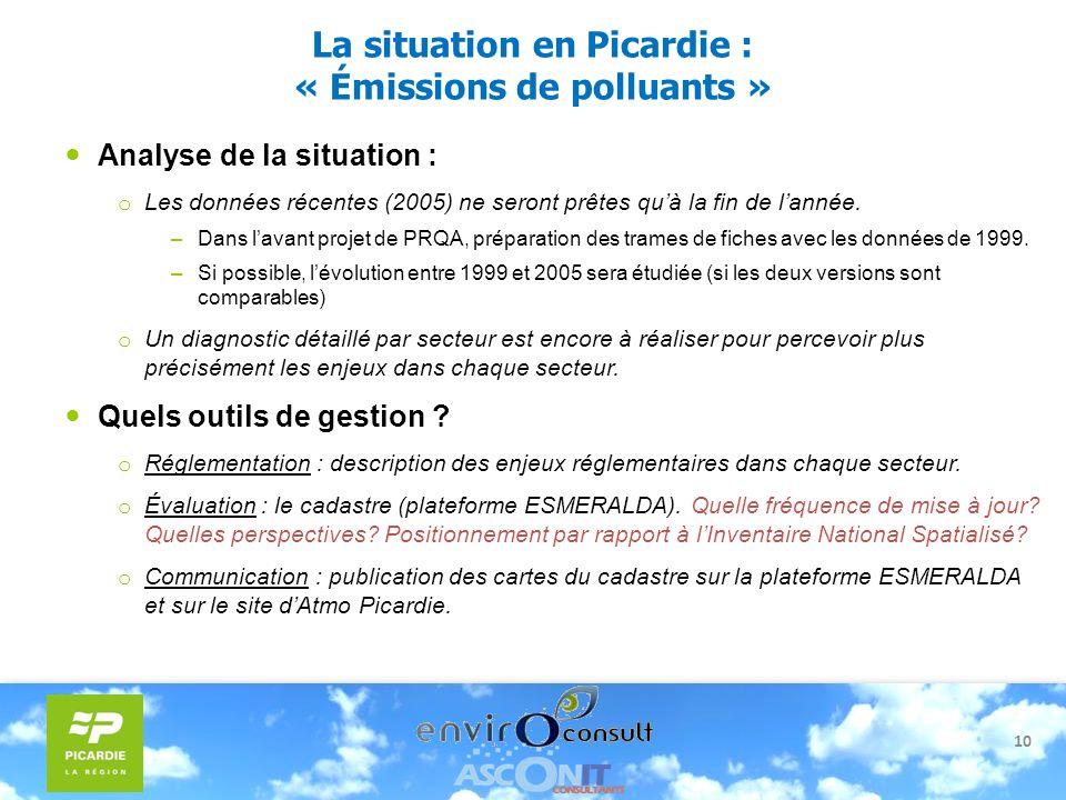 La situation en Picardie : « Émissions de polluants »