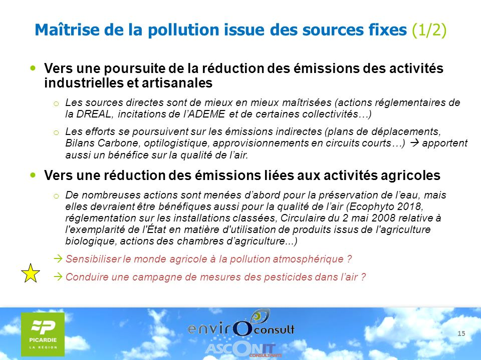 Maîtrise de la pollution issue des sources fixes (1/2)