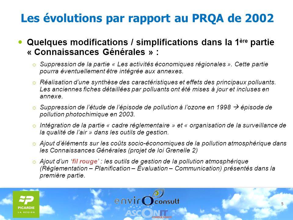 Les évolutions par rapport au PRQA de 2002