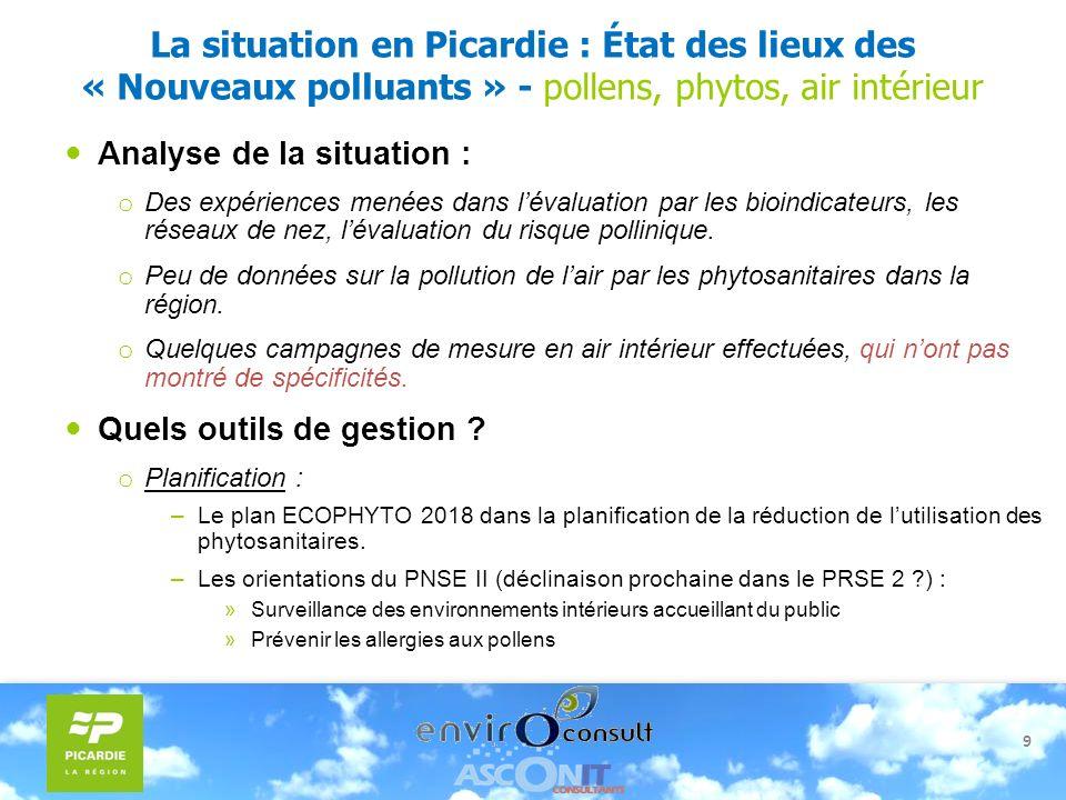 La situation en Picardie : État des lieux des « Nouveaux polluants » - pollens, phytos, air intérieur