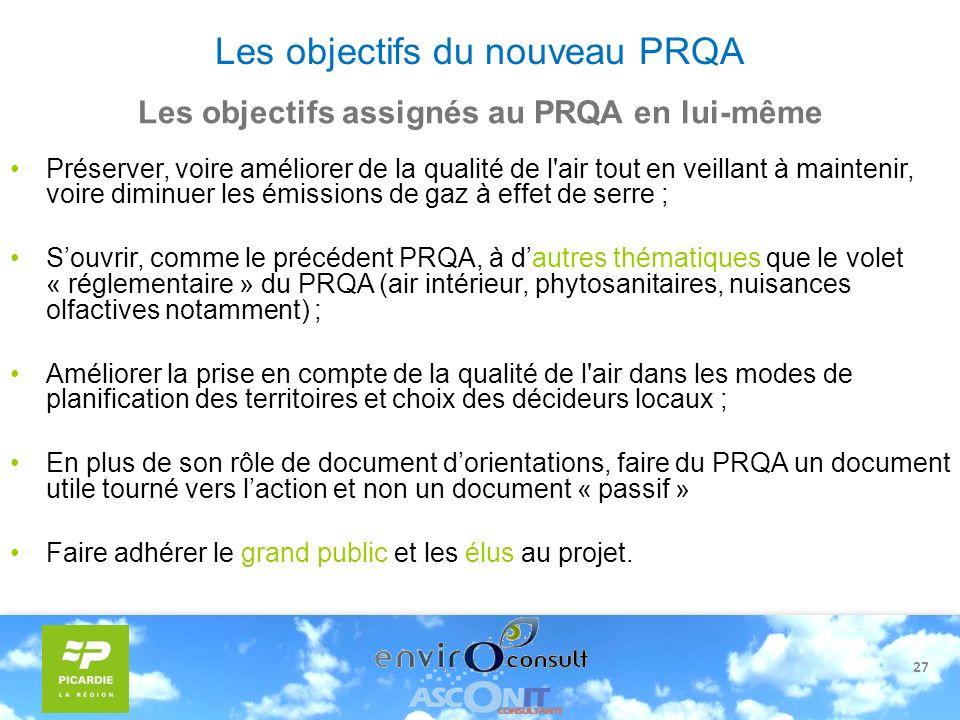 Les objectifs du nouveau PRQA