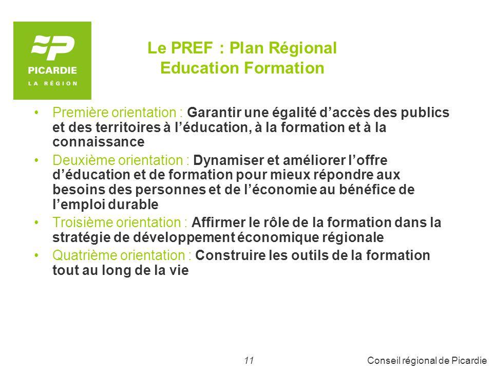 Le PREF : Plan Régional Education Formation