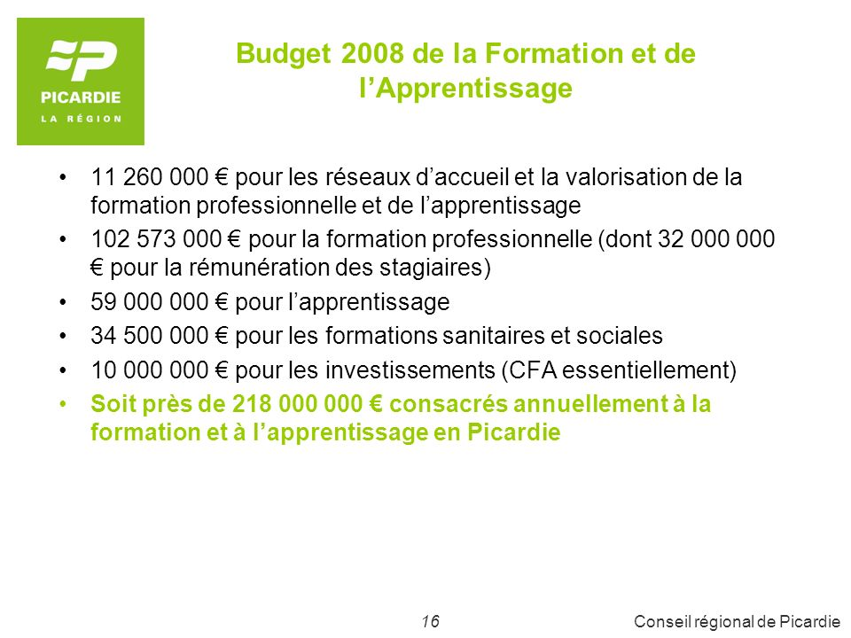 Budget 2008 de la Formation et de l'Apprentissage