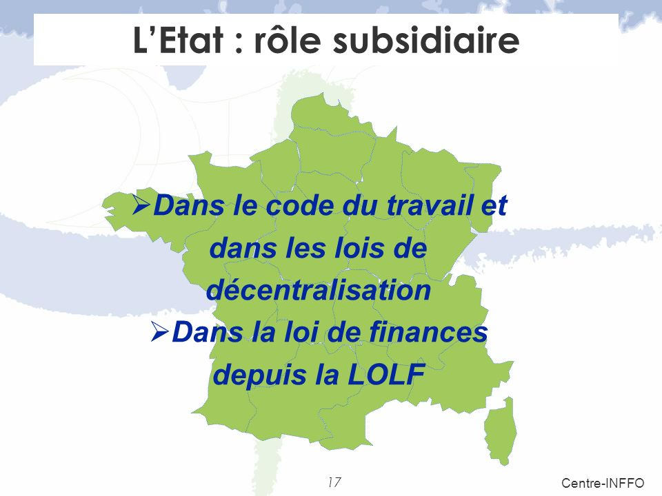 L'Etat : rôle subsidiaire