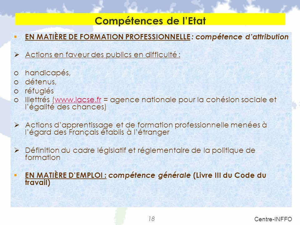 Compétences de l'Etat EN MATIÈRE DE FORMATION PROFESSIONNELLE : compétence d'attribution. Actions en faveur des publics en difficulté :