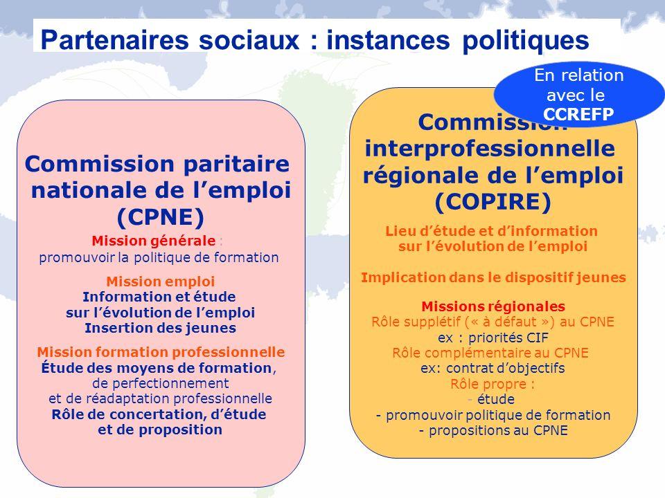 Partenaires sociaux : instances politiques
