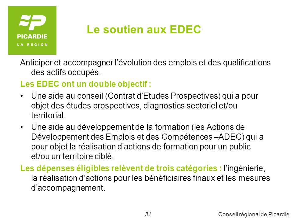 Le soutien aux EDEC Anticiper et accompagner l'évolution des emplois et des qualifications des actifs occupés.