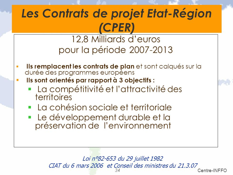 Les Contrats de projet Etat-Région (CPER)