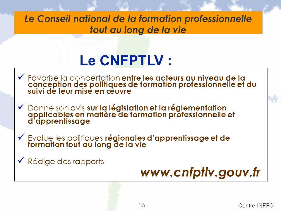 Le CNFPTLV : www.cnfptlv.gouv.fr