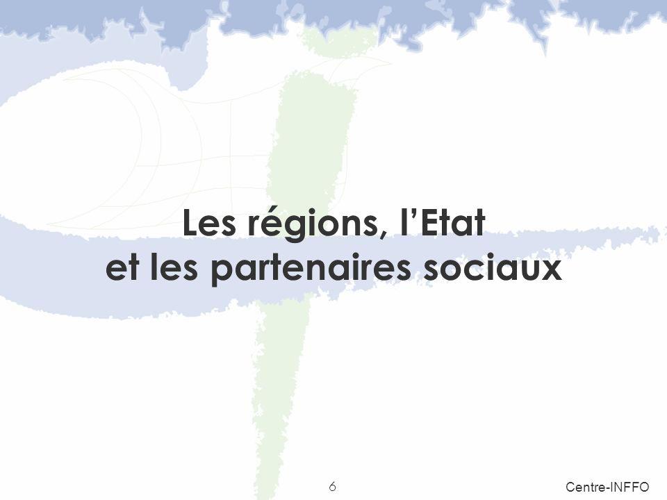Les régions, l'Etat et les partenaires sociaux