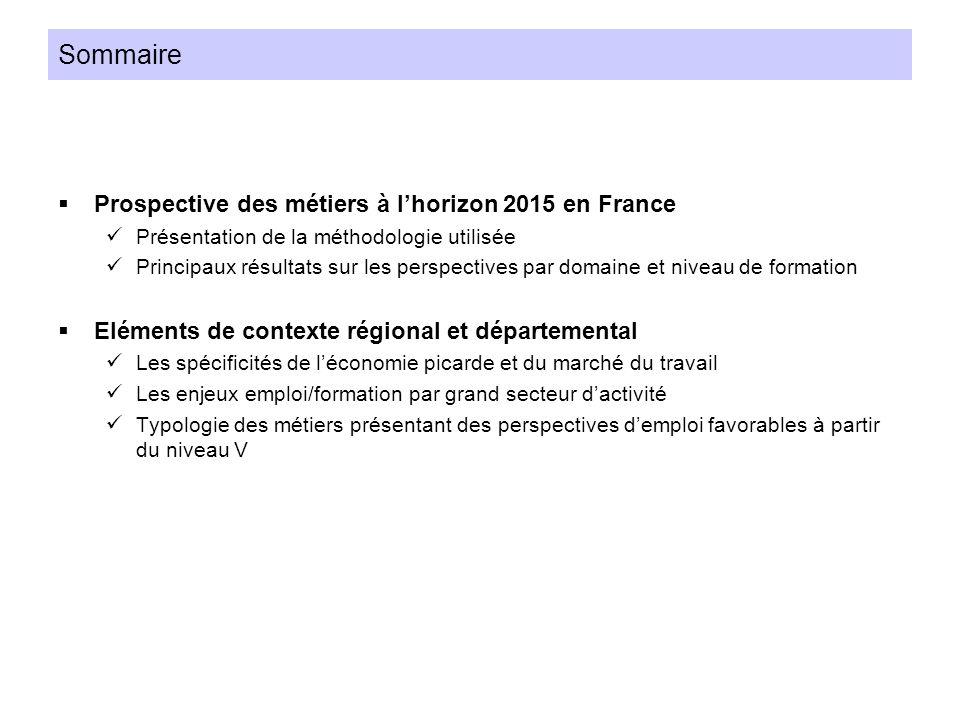 Sommaire Prospective des métiers à l'horizon 2015 en France