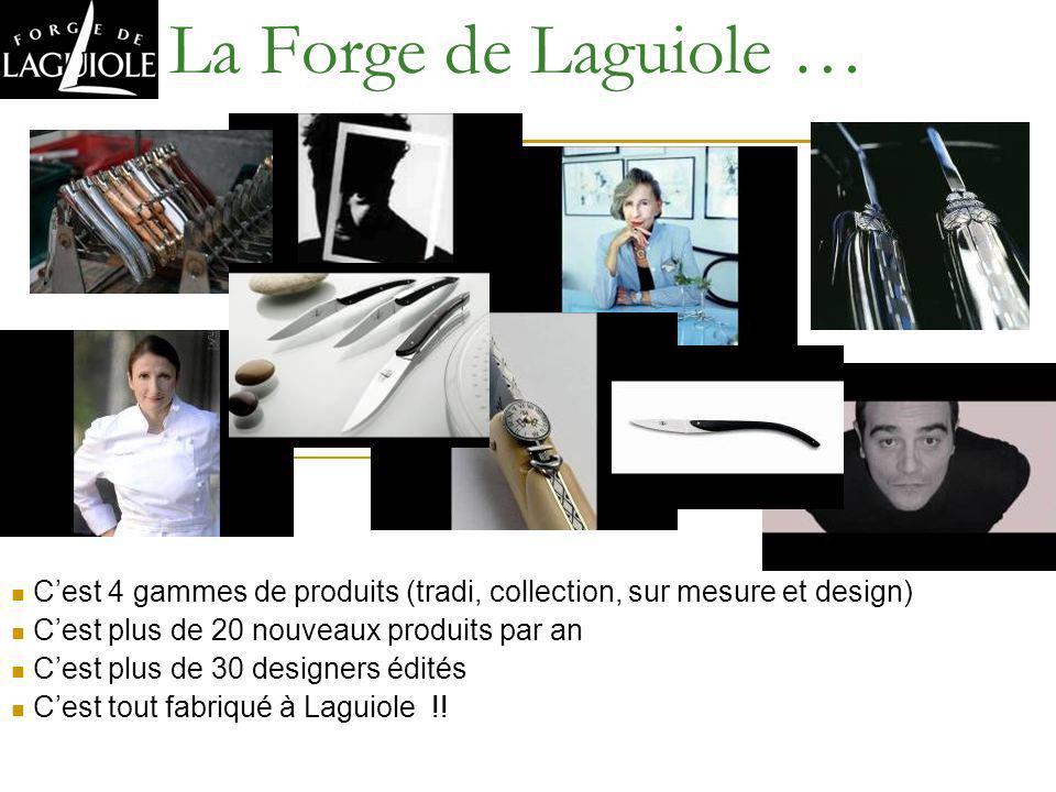 La Forge de Laguiole …C'est 4 gammes de produits (tradi, collection, sur mesure et design) C'est plus de 20 nouveaux produits par an.