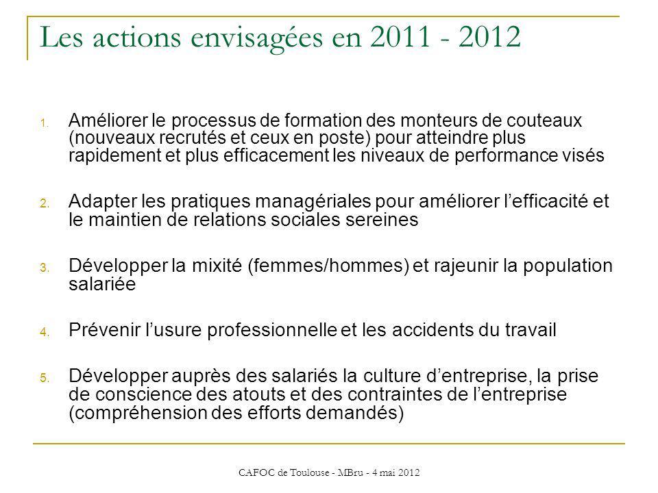 Les actions envisagées en 2011 - 2012