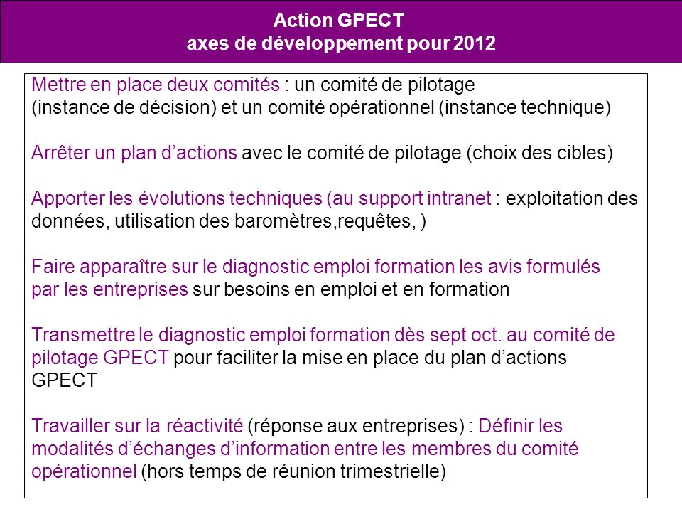 axes de développement pour 2012