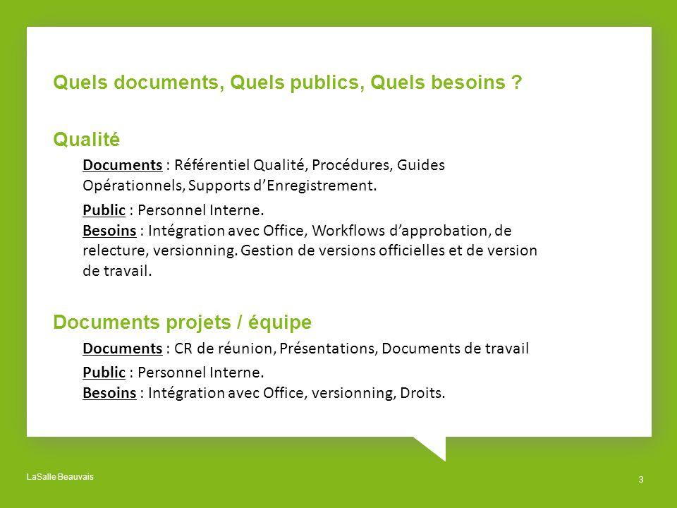 Quels documents, Quels publics, Quels besoins Qualité