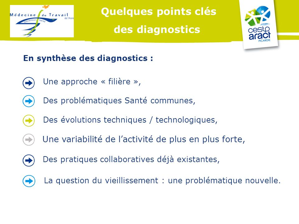 Quelques points clés des diagnostics