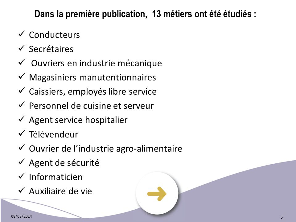 Dans la première publication, 13 métiers ont été étudiés :