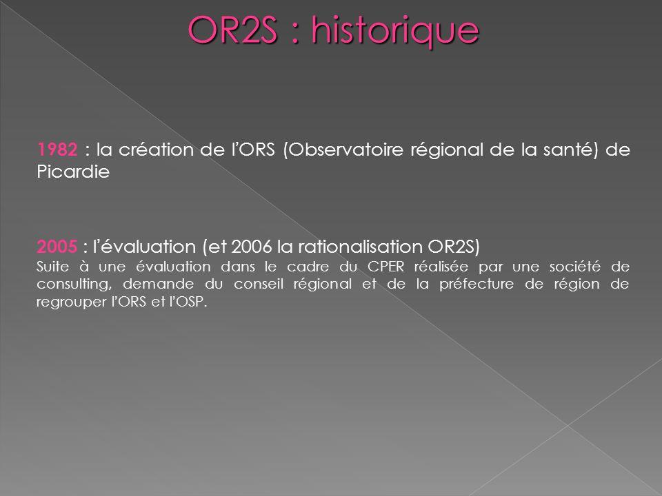 OR2S : historique 1982 : la création de l'ORS (Observatoire régional de la santé) de Picardie. 2005 : l'évaluation (et 2006 la rationalisation OR2S)
