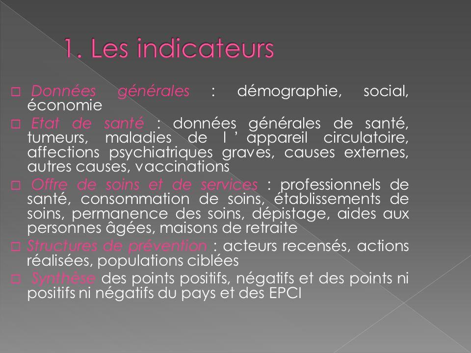 1. Les indicateurs Données générales : démographie, social, économie