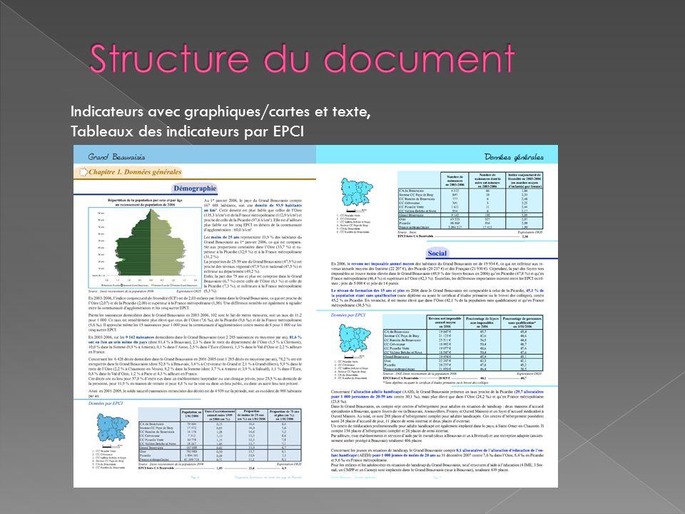Structure du document Indicateurs avec graphiques/cartes et texte,