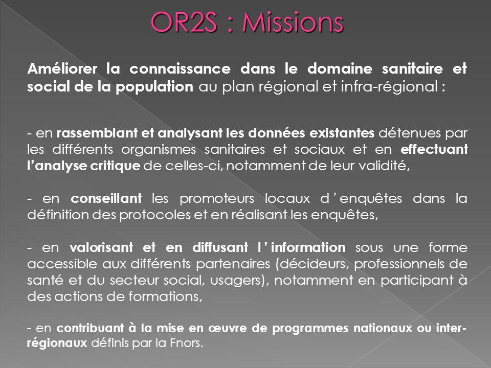 OR2S : Missions Améliorer la connaissance dans le domaine sanitaire et social de la population au plan régional et infra-régional :