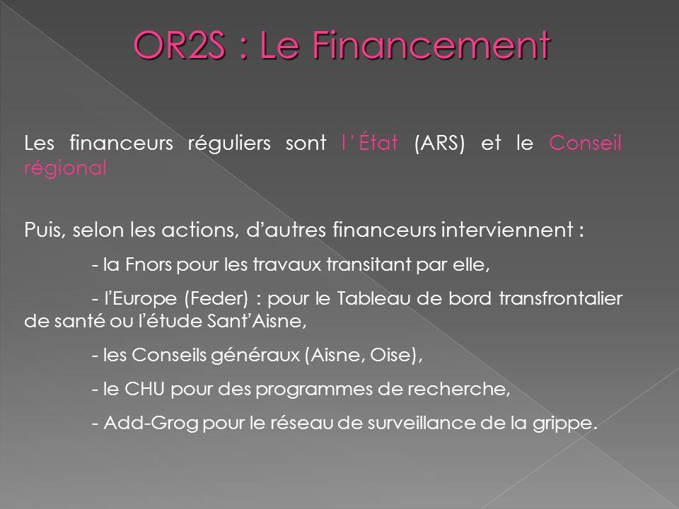 OR2S : Le Financement Les financeurs réguliers sont l'État (ARS) et le Conseil régional.