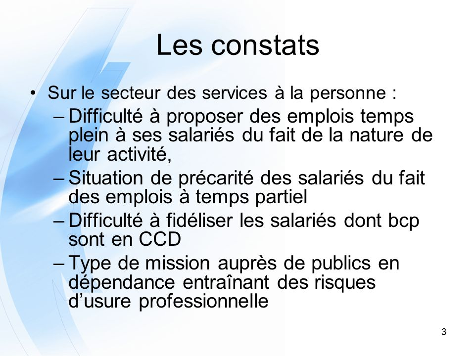 Les constats Sur le secteur des services à la personne :
