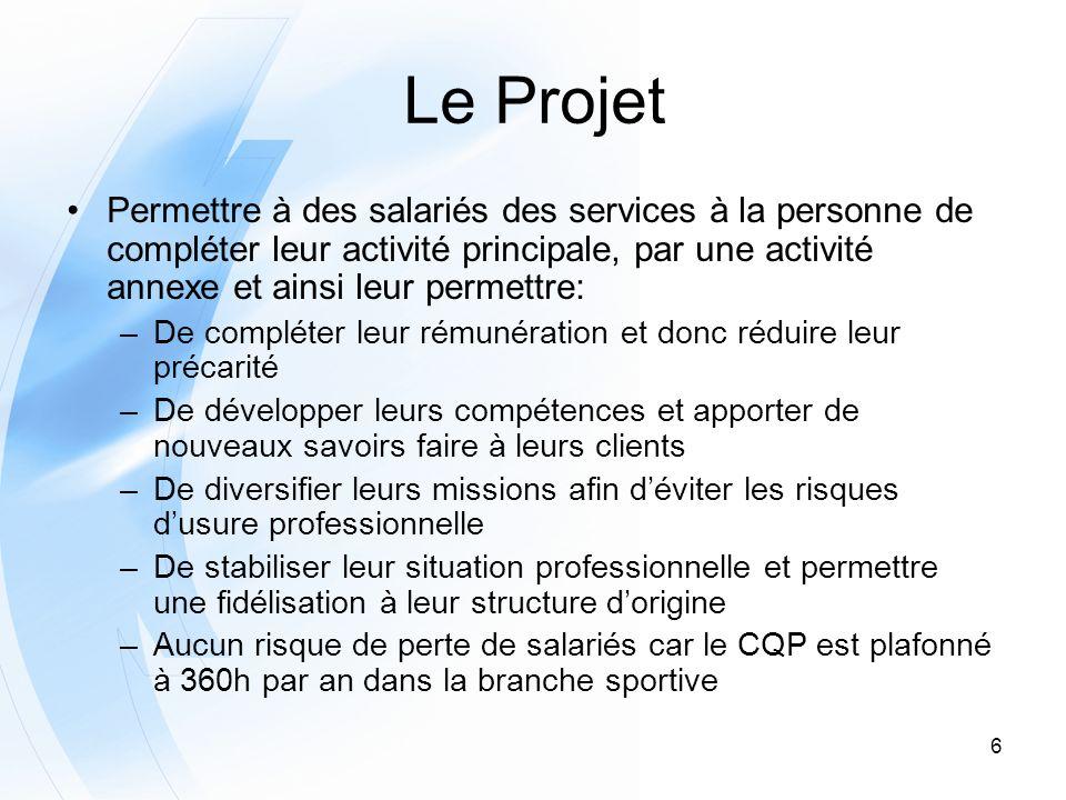 Le Projet Permettre à des salariés des services à la personne de compléter leur activité principale, par une activité annexe et ainsi leur permettre: