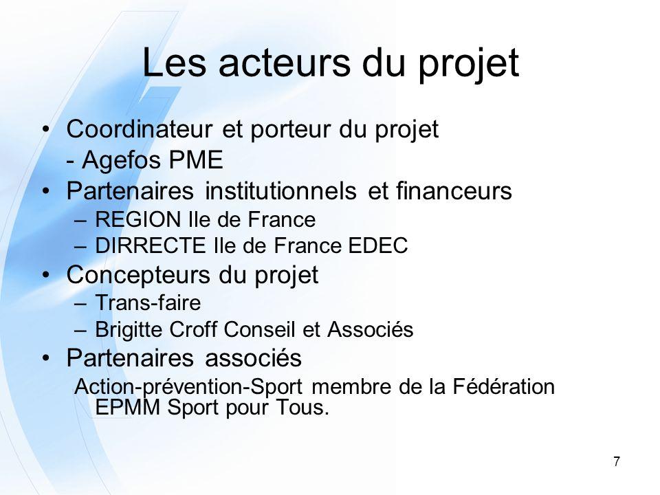 Les acteurs du projet Coordinateur et porteur du projet - Agefos PME