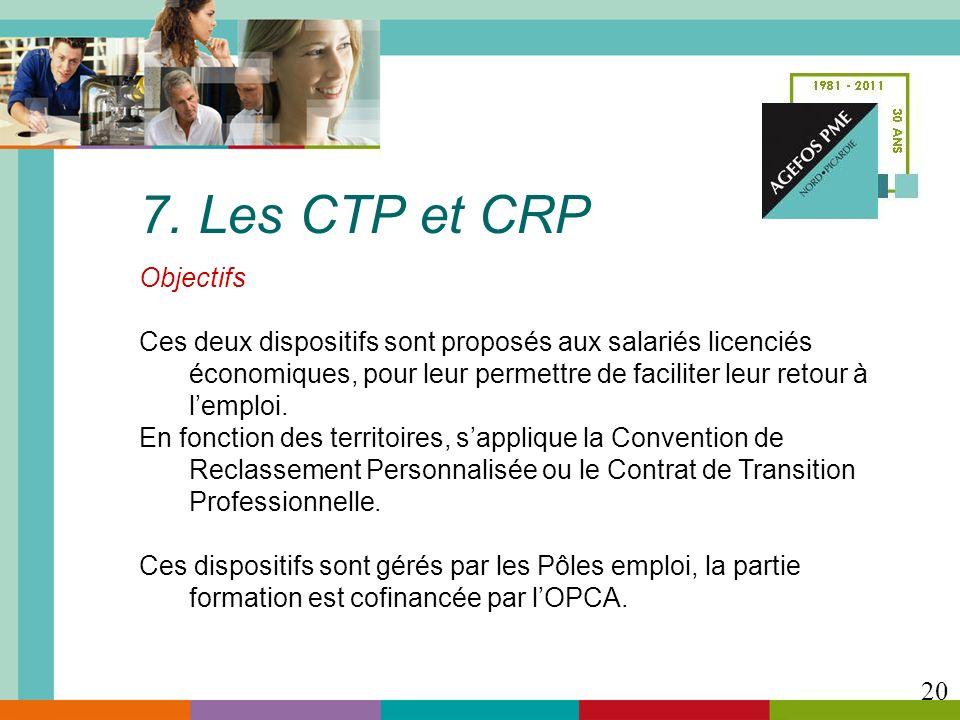 7. Les CTP et CRP Objectifs