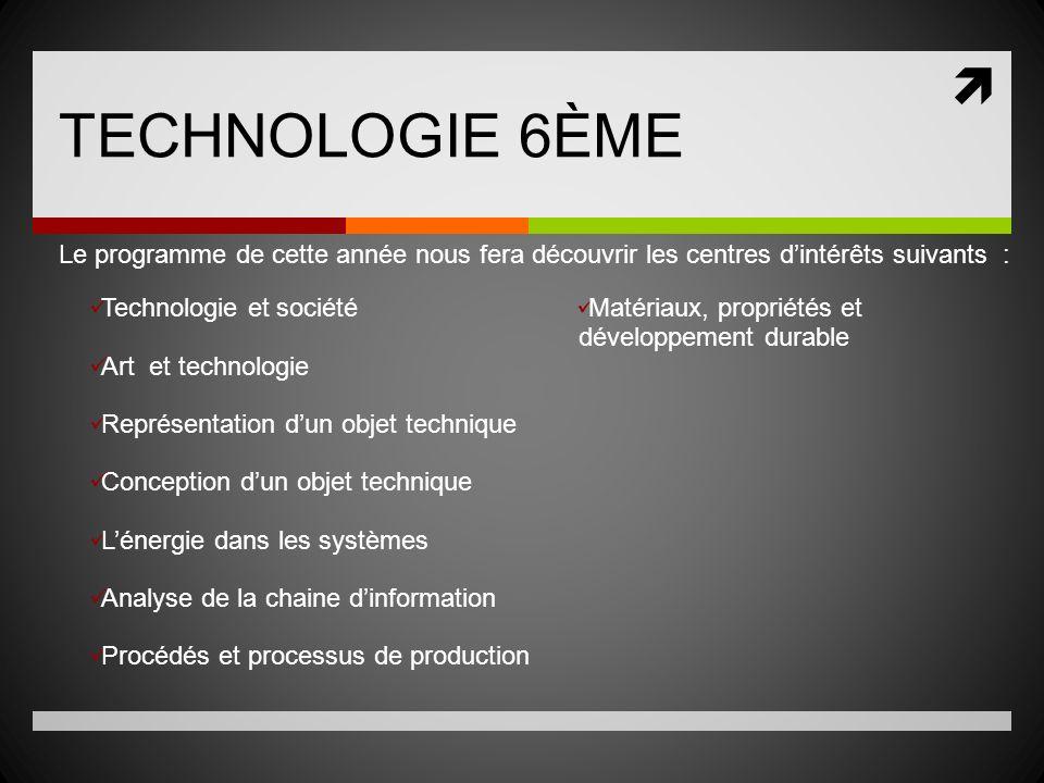 TECHNOLOGIE 6ÈME Le programme de cette année nous fera découvrir les centres d'intérêts suivants :
