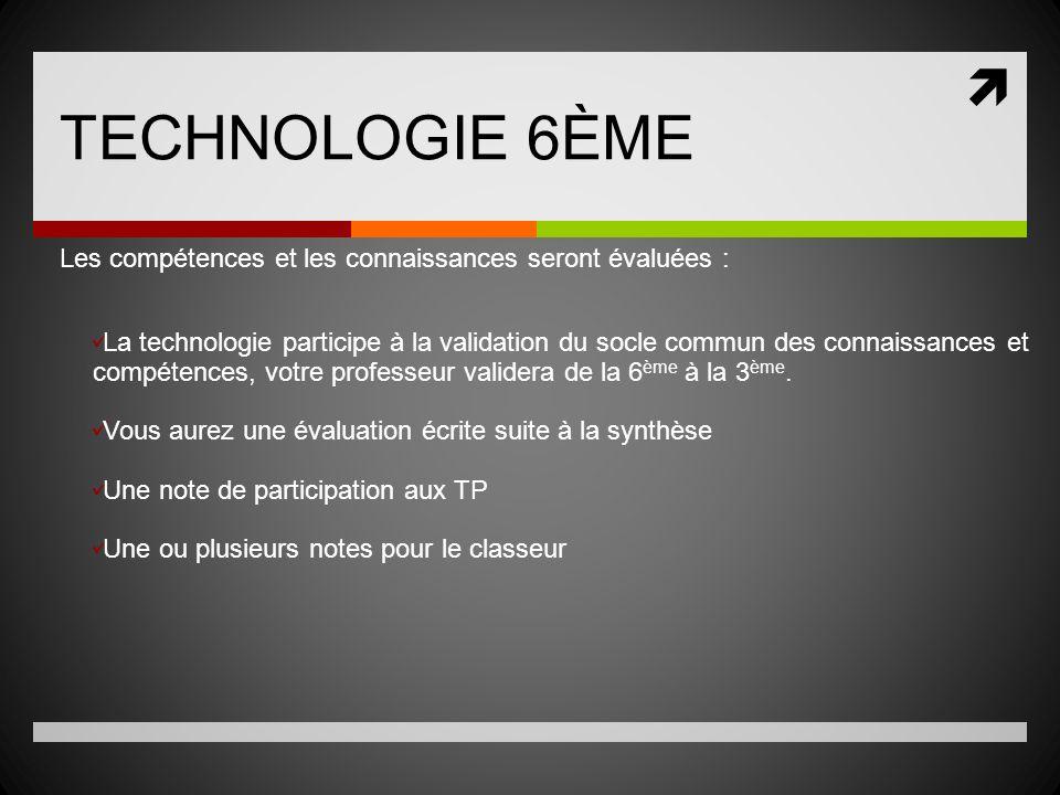 TECHNOLOGIE 6ÈME Les compétences et les connaissances seront évaluées :