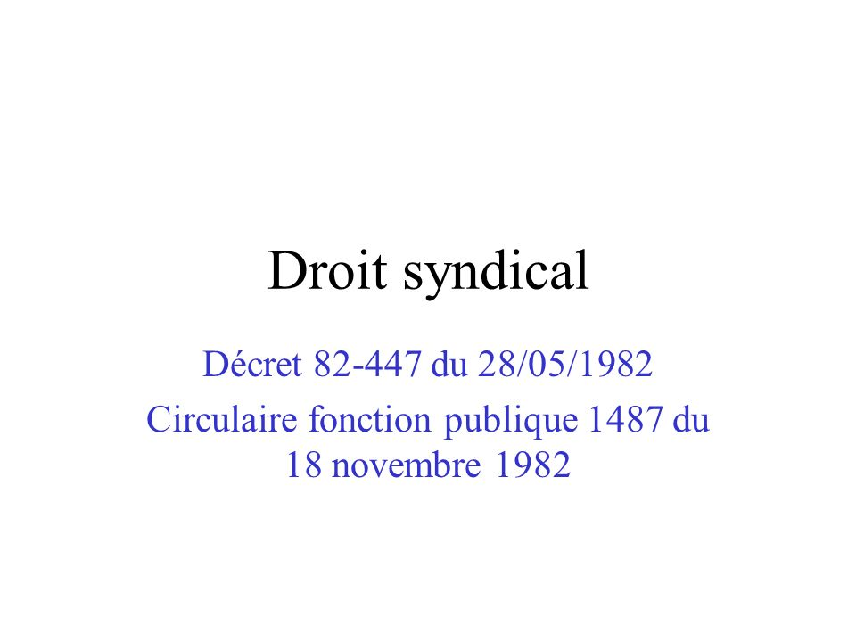 Circulaire fonction publique 1487 du 18 novembre 1982