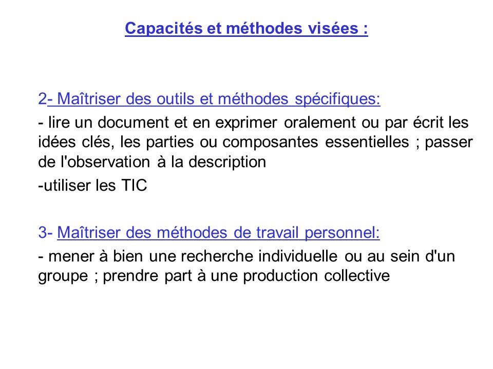 Capacités et méthodes visées :