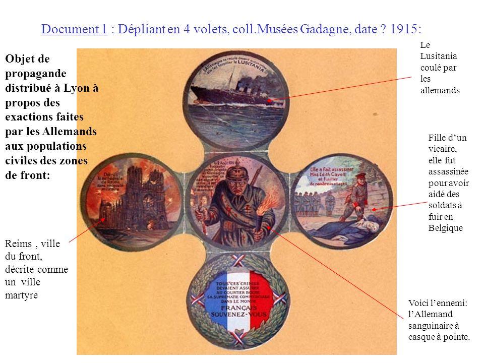 Document 1 : Dépliant en 4 volets, coll.Musées Gadagne, date 1915: