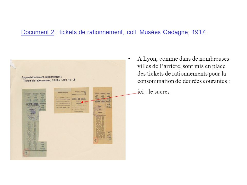 Document 2 : tickets de rationnement, coll. Musées Gadagne, 1917: