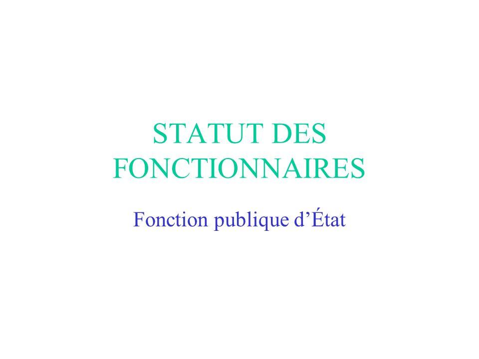STATUT DES FONCTIONNAIRES