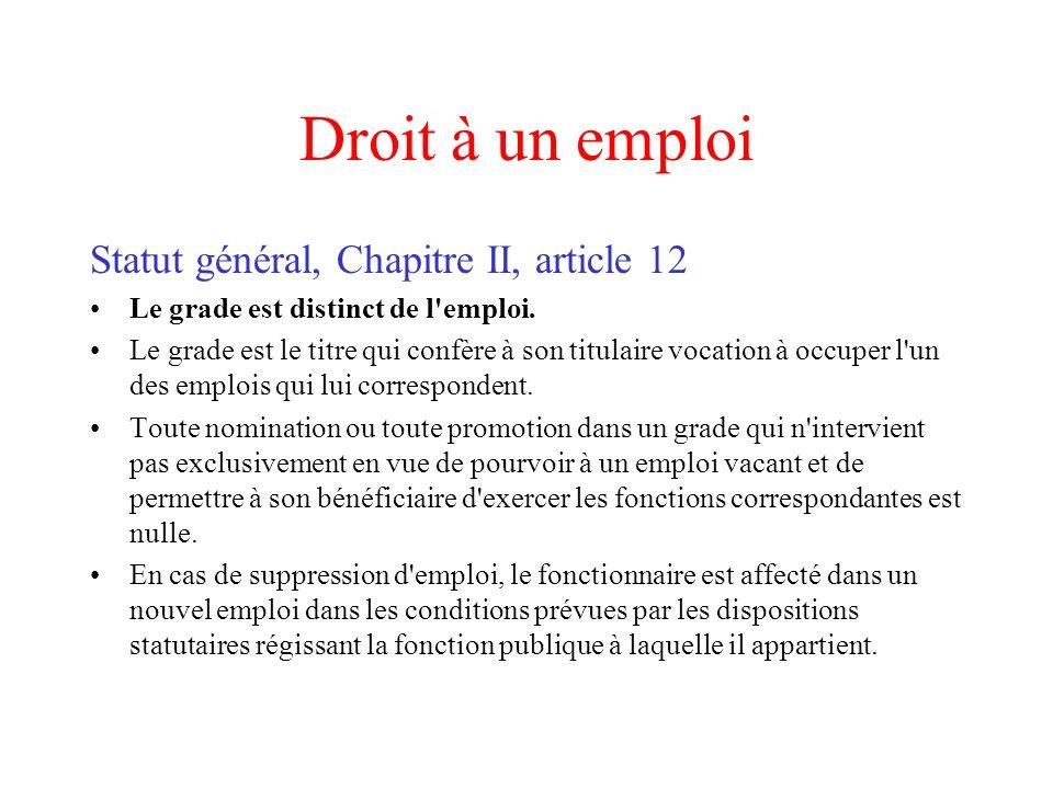 Droit à un emploi Statut général, Chapitre II, article 12