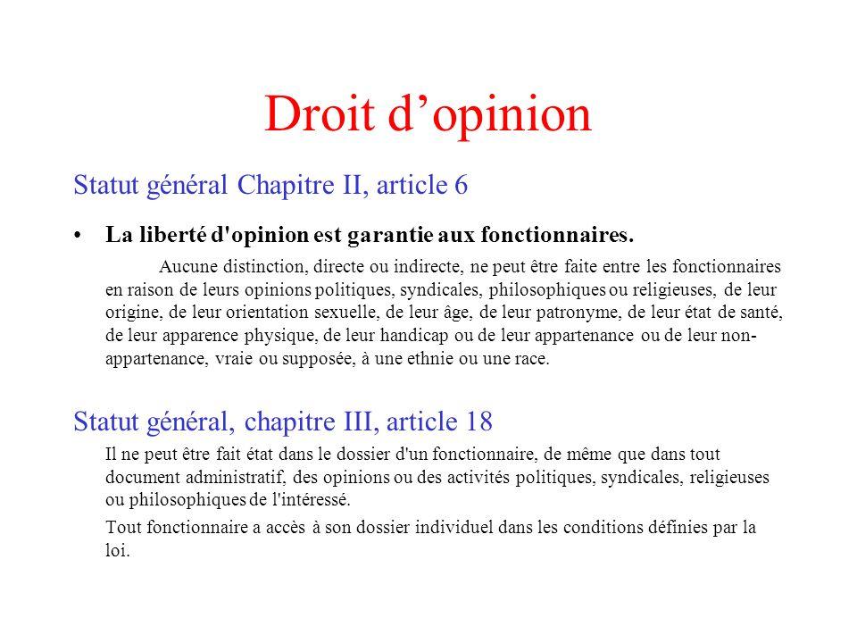 Droit d'opinion Statut général Chapitre II, article 6