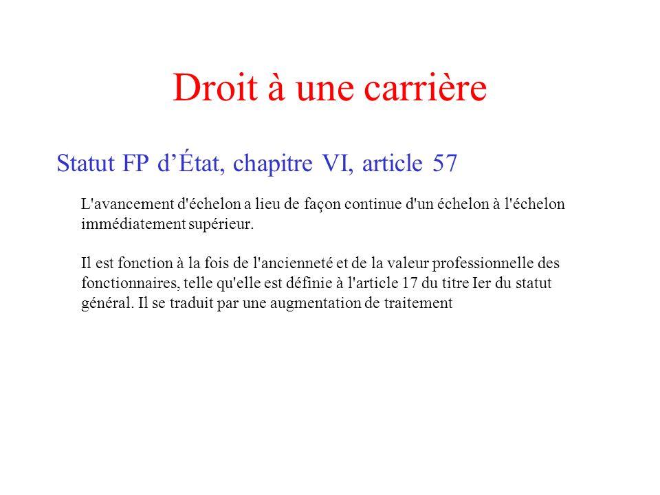 Droit à une carrière Statut FP d'État, chapitre VI, article 57