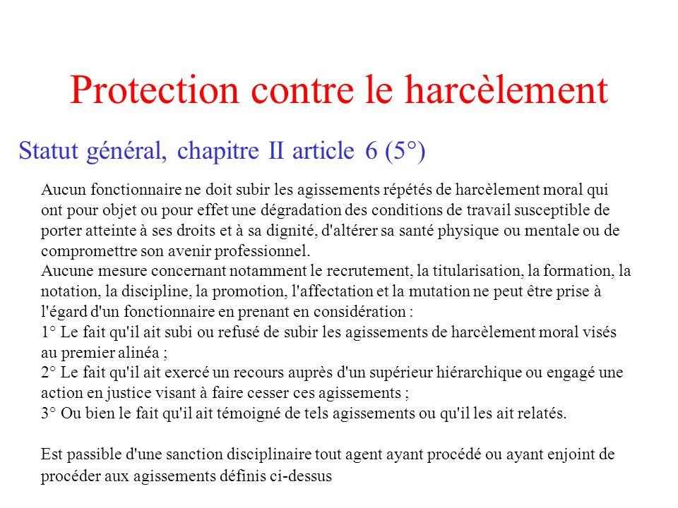 Protection contre le harcèlement