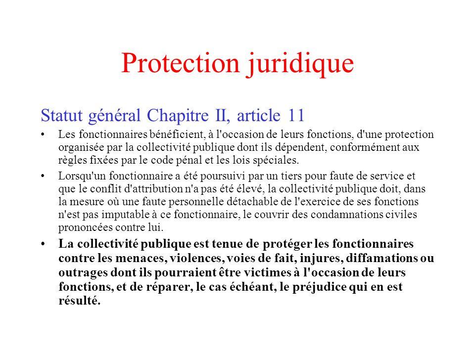 Protection juridique Statut général Chapitre II, article 11
